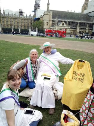 The amazing veteran environmental capaigner Anne Power almost 87 years of age at 100 Women demo in Westminster.
